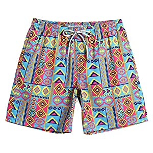 MaaMgic Mens Short 80s Original Swim Trunks with Mesh Lined 4 Way Stretch Quick Dry Vintage Swim Trunks Bathing Suits 854222