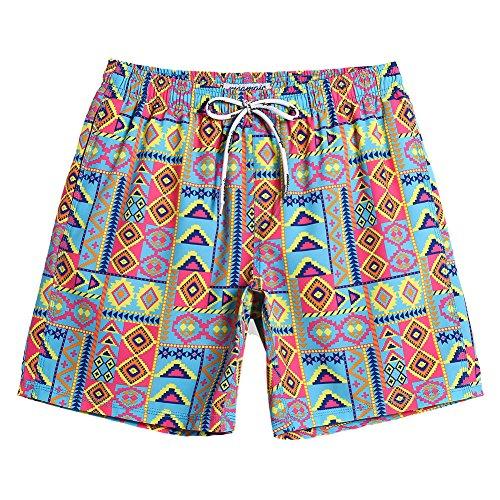 MaaMgic Mens Short 80s Original Swim Trunks Mesh Lined 4 Way Stretch Quick Dry Vintage Swim Trunks Bathing Suits 854222