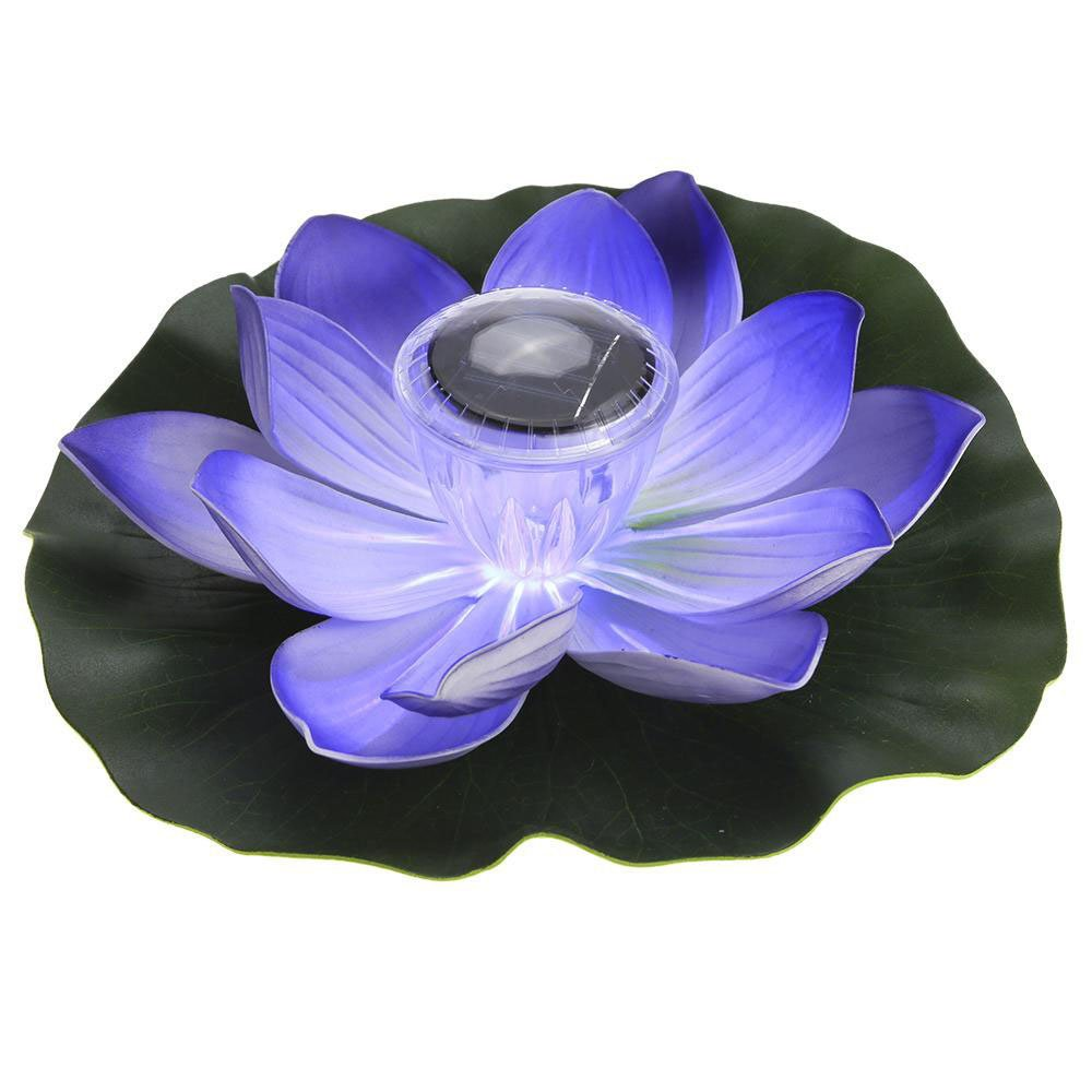 Efanr Solar Power Energy Floating Lotus Light Outdoor Waterproof Pond Color Changing Led Flower Night Lamp Garden Pool Wishing Lotus Leaf Lights Party Decor Creative Gift (Purple)