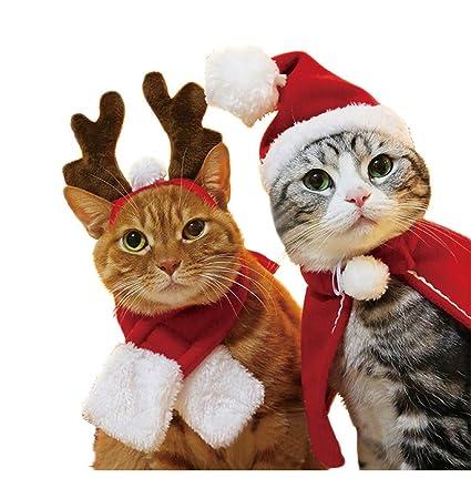 Frmarche Gato Perro Sombrero de Santa Claus Bufanda Capa Reno Diadema para Mascota  Navidad Halloween Cosplay a0abc4c1b93