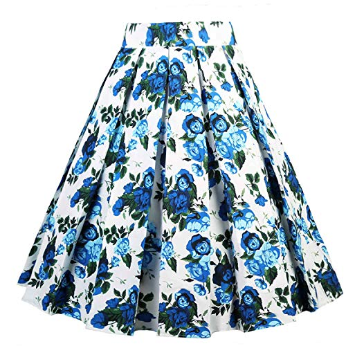 Dressever Women's Vintage A-line Printed Pleated Flared Midi Skirts Blue Flower Large (Best A Line Skirts)