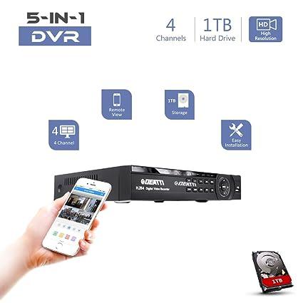 DEATTI 1080P Lite CCTV DVR grabadora, 5 en 1 híbrido DVR para sistema de vigilancia