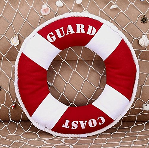 Telisha Red Buoy Throw Pillow Home Decorative Sofa Bed Cushion Pillow Throw Sea Coast Sailing Boat Life Buoy Beach Theme