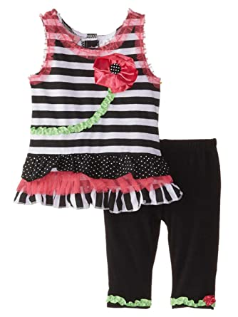 2ca36088735e7 Young Hearts Infant Girls Striped Sleeveless Shirt & Leggings 2 Piece  Outfit 12m
