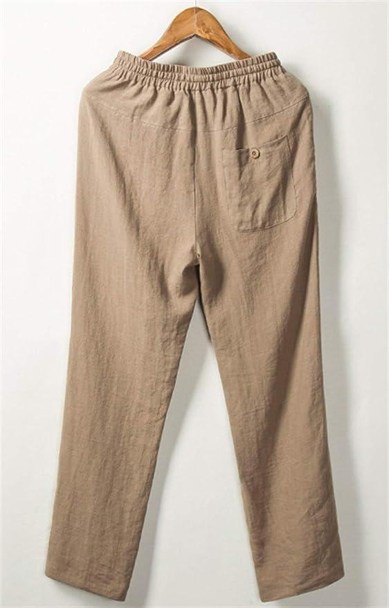 Liveinu Mens Casual 57/% Linen Pants Loose Fit Summer Drawstring Beach Pants Camel