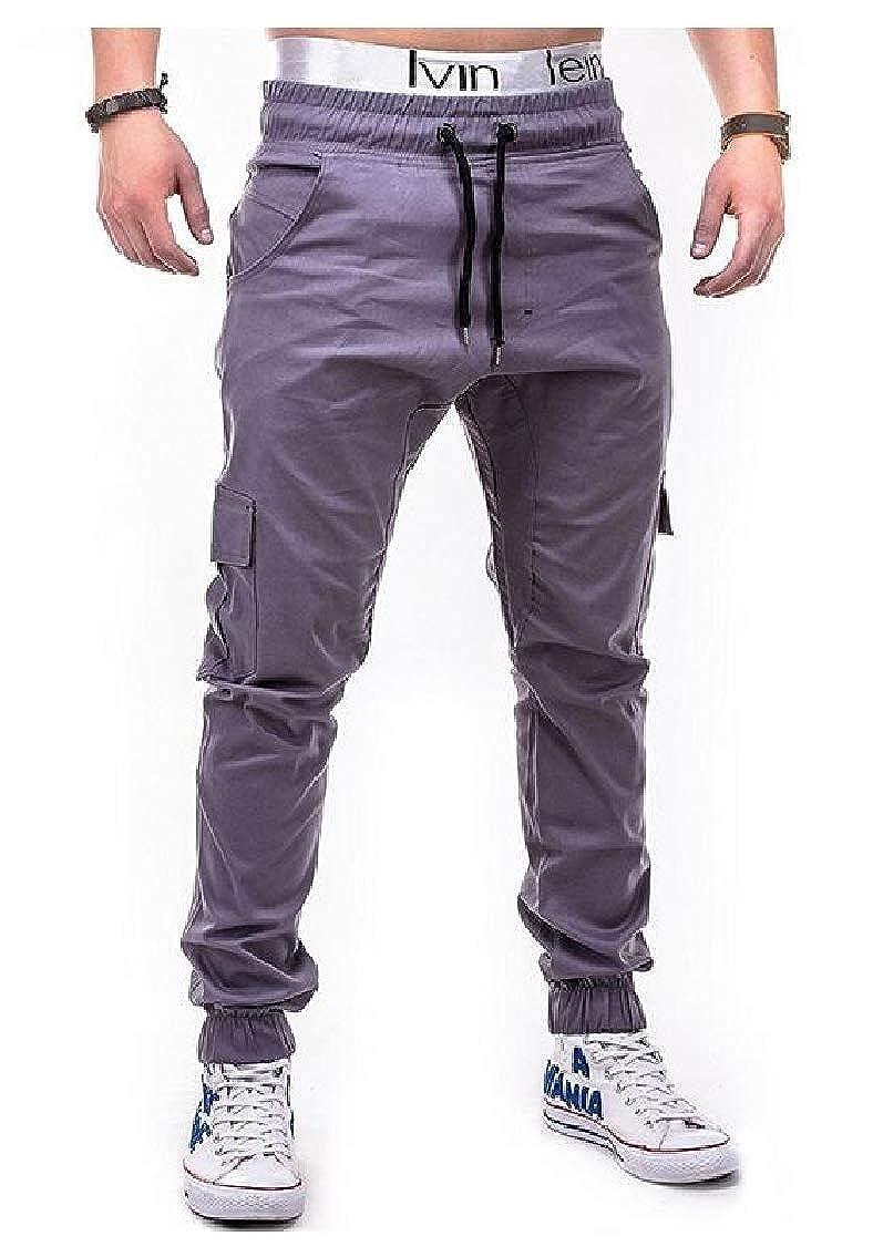 pipigo Mens Slim Juniors Sports Elastic Waist Jogging Solid Color Pants