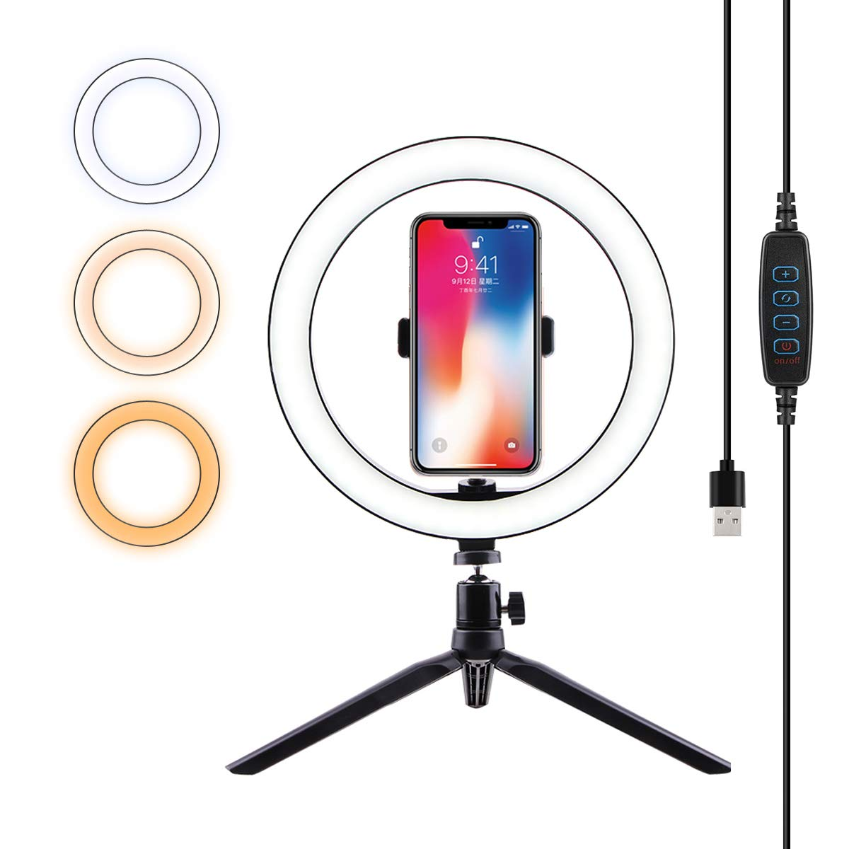 Ring Light with Cell Phone Holder Tripod Stand with Desktop LED Lamp with 3 Light Modes for Beauty Video Live and Makeup