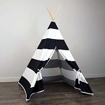 Kids Teepee Tent in Black u0026 White Stripe - Includes Large Stripe Canvas Teepee and Wooden & Amazon.com: Kids Teepee Tent in Black u0026 White Stripe - Includes ...