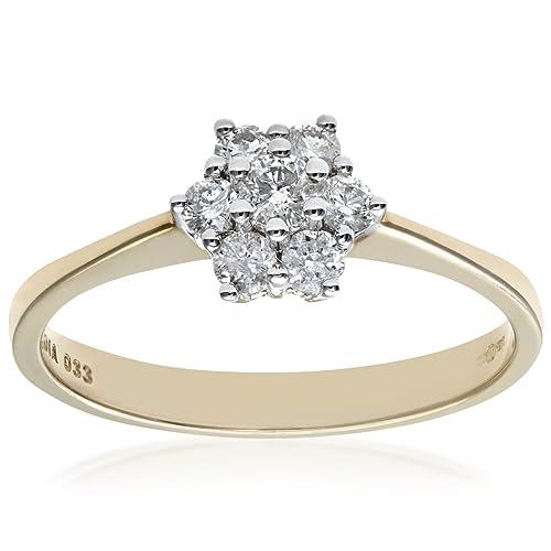 Naava Anillo para Mujer de Oro Amarillo 9K con 7 Diamantes talla 20.5