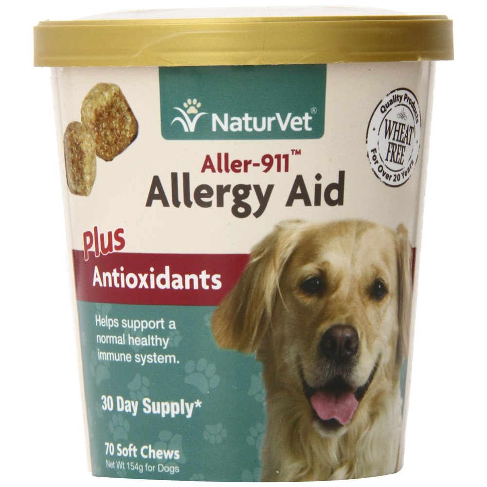 NaturVet 70 Count Aller-911 Allergy Aid Plus Antioxidants Soft Chews 5.40 oz (154 g)-(2 pack ) by NaturVet