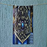 L-QN swimmer towel traditional thai stucco pattern decorative in buddhist temple chiang rai thailand Moisture Wicking W9.8 x H39.4 INCH