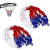 2 Pcs Basketball Net , 12 Loops Professional Goal Basketball Hoop Netting All Weather for Adults Boys Kids