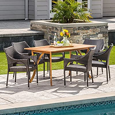 Christopher Knight Home Zoey | Outdoor 7-Piece Acacia Wood/Wicker Dining Set | with Teak Finish | in Multibrown - The beautiful blend of wood and wicker comes to life with this dining Set, complete with six stacking wicker dining chairs, you can enjoy eating in your backyard whenever you want, The wooden table is treated to withstand even the harshest of seasons, ensuring your Set looks great all year long, The rectangular table ensures that there is enough space for both food and people, meaning no one leaves the table hungry Includes: one (1) table and six (6) chairs Table material: Acacia wood | chair Material: faux wicker | chair frame material: iron | wood Finish: teak | wicker finish: - patio-furniture, dining-sets-patio-funiture, patio - 61SmEB4LGQL. SS400  -