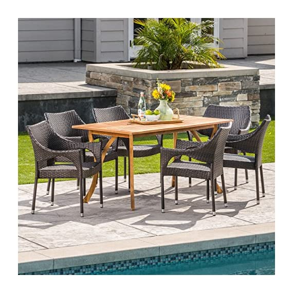 Christopher Knight Home Zoey | Outdoor 7-Piece Acacia Wood/Wicker Dining Set | with Teak Finish | in Multibrown - The beautiful blend of wood and wicker comes to life with this dining Set, complete with six stacking wicker dining chairs, you can enjoy eating in your backyard whenever you want, The wooden table is treated to withstand even the harshest of seasons, ensuring your Set looks great all year long, The rectangular table ensures that there is enough space for both food and people, meaning no one leaves the table hungry Includes: one (1) table and six (6) chairs Table material: Acacia wood | chair Material: faux wicker | chair frame material: iron | wood Finish: teak | wicker finish: - patio-furniture, dining-sets-patio-funiture, patio - 61SmEB4LGQL. SS570  -