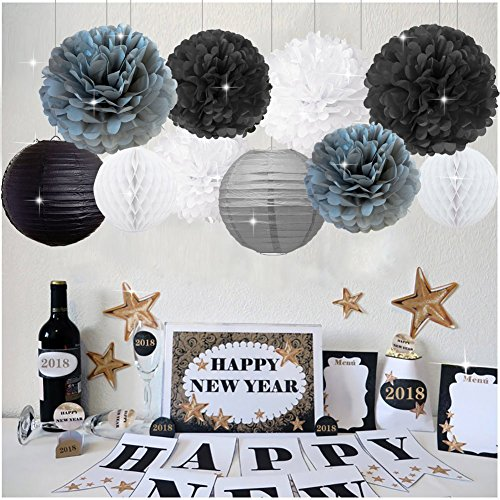 New Years Decorations Grey Black White Party Decor Kit Tissue Paper Pom Poms Flower Paper Lantern Paper Honeycomb Balls Party Hanging Decoration Favor for Birthday Decoration Black Gold Themed Decor