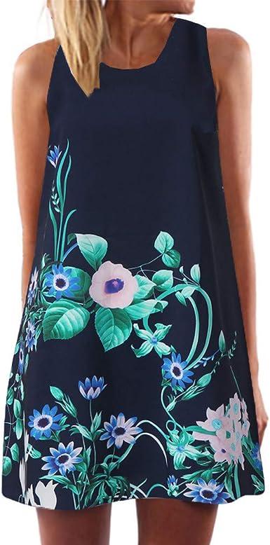 KYLEON Womens Summer Dresses Sleeveless Casual Floral Print U-Neck Flared Midi Dress with Pockets Boho Beach Tank Dress