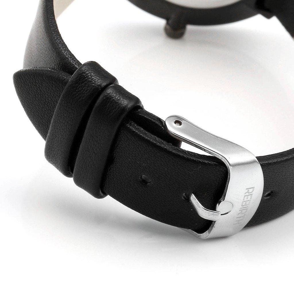JSDDE Montre à Quartz Unisexe Mouvement Japonais Bracelet PU Style Simple Chic avec Calendrier Montre Etanche + Cadeau Boîtier Cadran Blanc Bracelet Noir