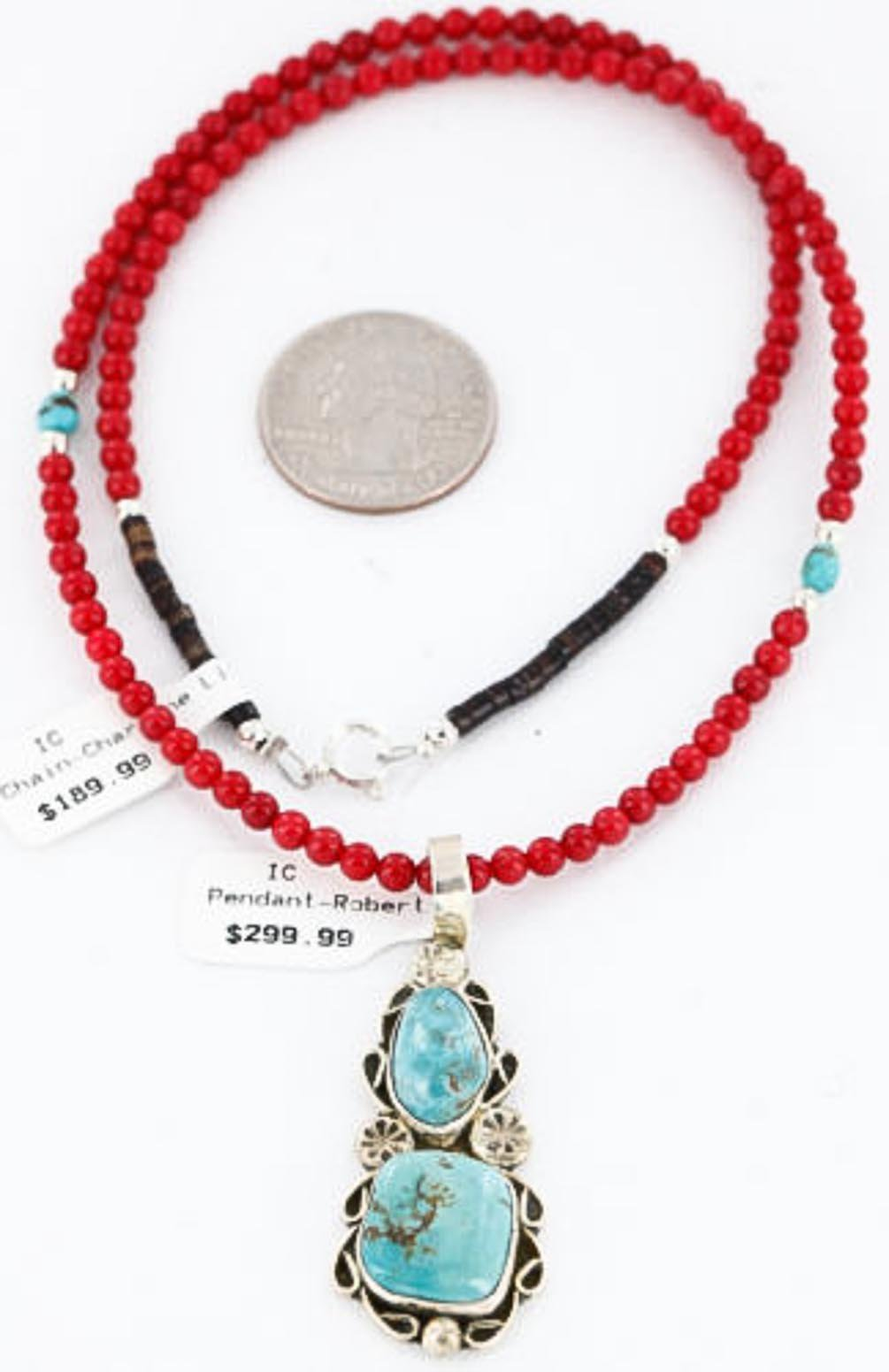 $490 Retail Tag Handmade Authentic Made by Robert Little Navajo Silver CORAL and Turquoise Native American Necklace
