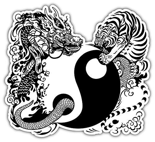 SkyLabel Yin Yang with Dragon and Tiger Bumper Sticker Vinyl Art Decal for Car Truck Van Wall Window (10'' X 10'')
