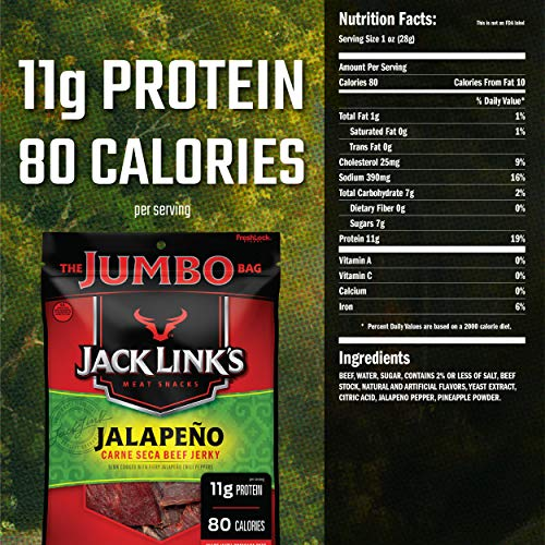 Jack Link's Beef Jerky, Jalapeño Carne Seca, 5.85 oz. Sharing Size Bag – Flavorful Meat Snack, 11g of Protein and 80 Calories, Made with 100% Beef - 96% Fat Free, No Added MSG or Nitrates/Nitrites