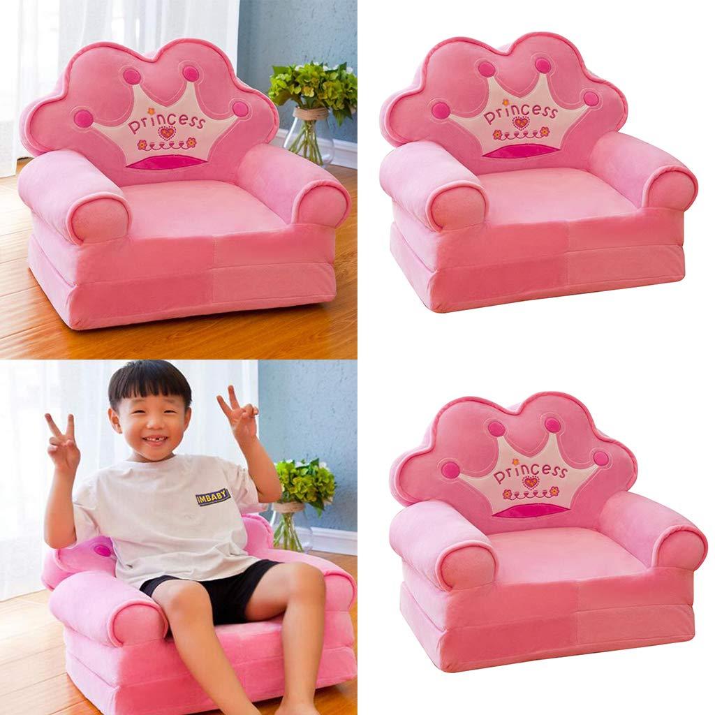 Azul HomeDecTime 2X Crown Chair Seat para Ni/ños Dibujos Animados Tatami Sillas Baby Sofa Cover Pink Individual