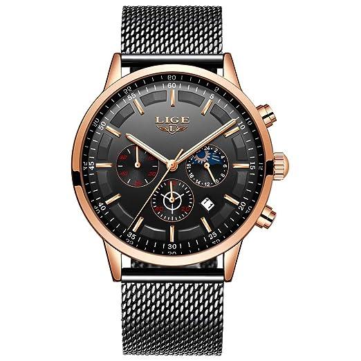LIGE La Moda Relojes Hombre Negocios Impermeable Cuarzo simulado Reloj Fase Lunar Negro Acero Inoxidable Cinturón de Malla Relojes de Pulsera: Amazon.es: ...