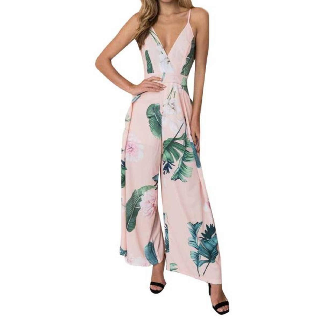 GWshop Ladies Fashion Elegant Jumpsuit Women Jumpsuits Elegant Wide Leg Strappy Holiday Long Playsuits Trousers Pink S