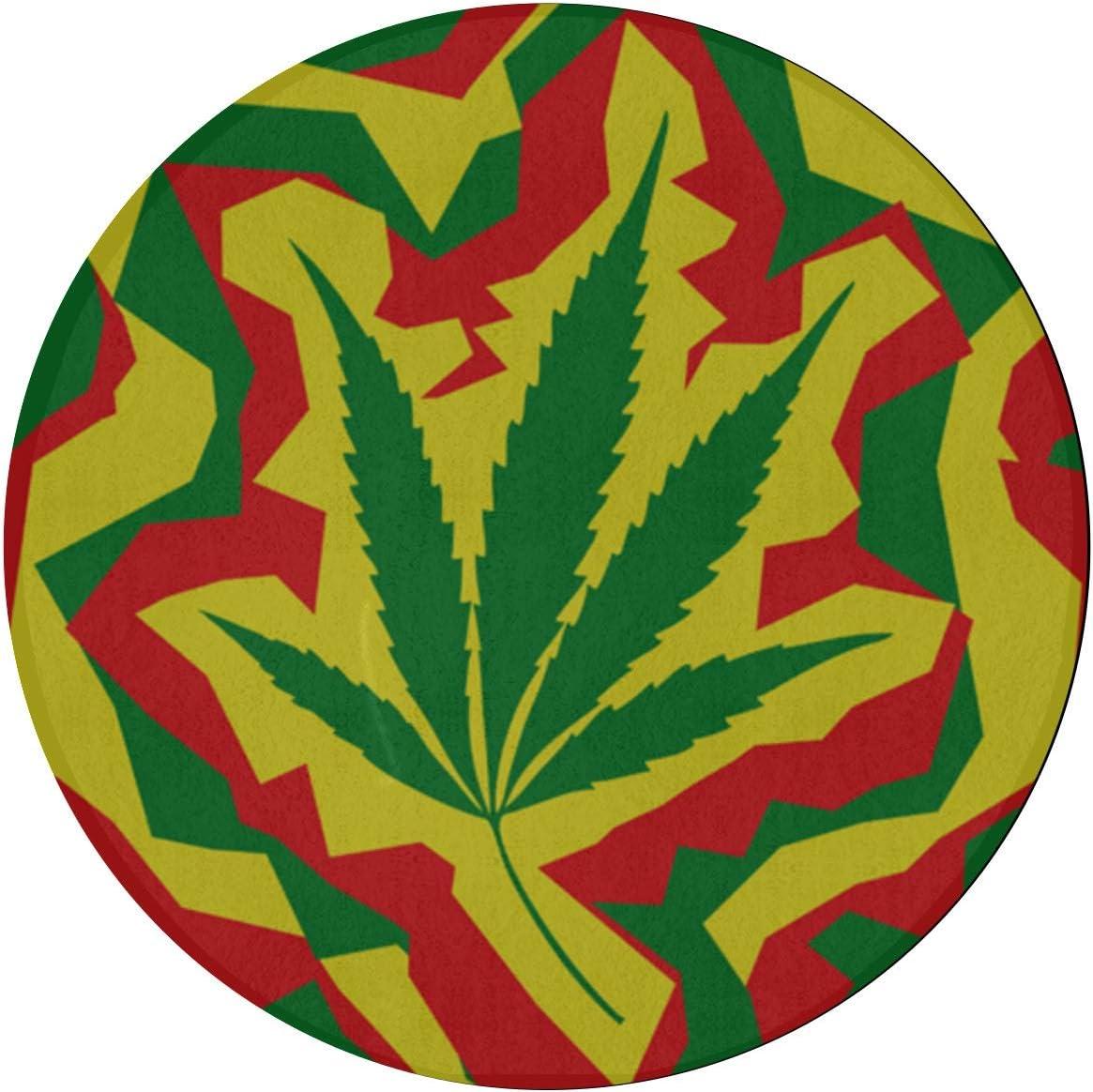 Alfombras de dormitorio Marihuana tostada Hoja de cannabis Colorido Área para niños Alfombra 2 pies Redondo antideslizante Microfibra Lavable a máquina Sala de estar Alfombra para cocina Comedor Sala