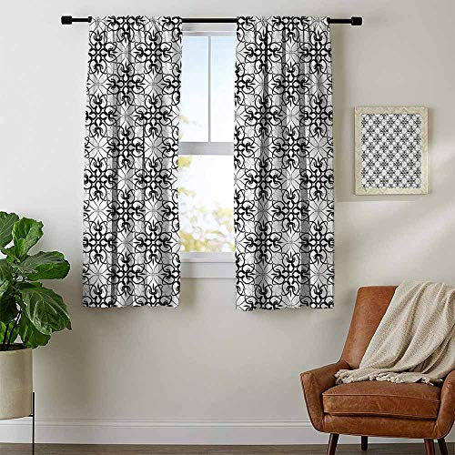 youpinnong Floral, Curtains Blackout 2 Panels, Victorian Lace Flower Pattern Curved Blooms Lines Vintage Work of Art Print, for Living Room, W54 x L63 Inch Black Light Grey