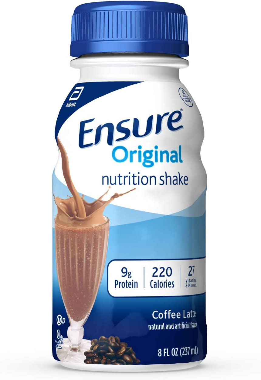 Ensure Original Nutrition Shake With 9g of Protein, Meal Replacement Shakes, Coffee Latte, 8 Fl Oz, 24 Count