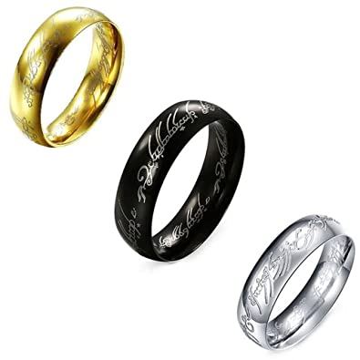 3 Pcs Feraco Cool Elvish Script Stainless Steel Ring For Men Laser Etched Finger Wedding Rings