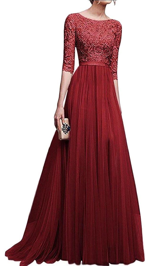 Gocgt Women Lace Chiffon A-Line Long Maxi Dress Evening Wedding Bridesmaid Gown
