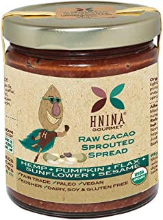 product image for HNINA Gourmet Organic Sprouted Seeds & Raw Cacao Spread – Hemp + Pumpkin + Flax + Sunflower + Sesame