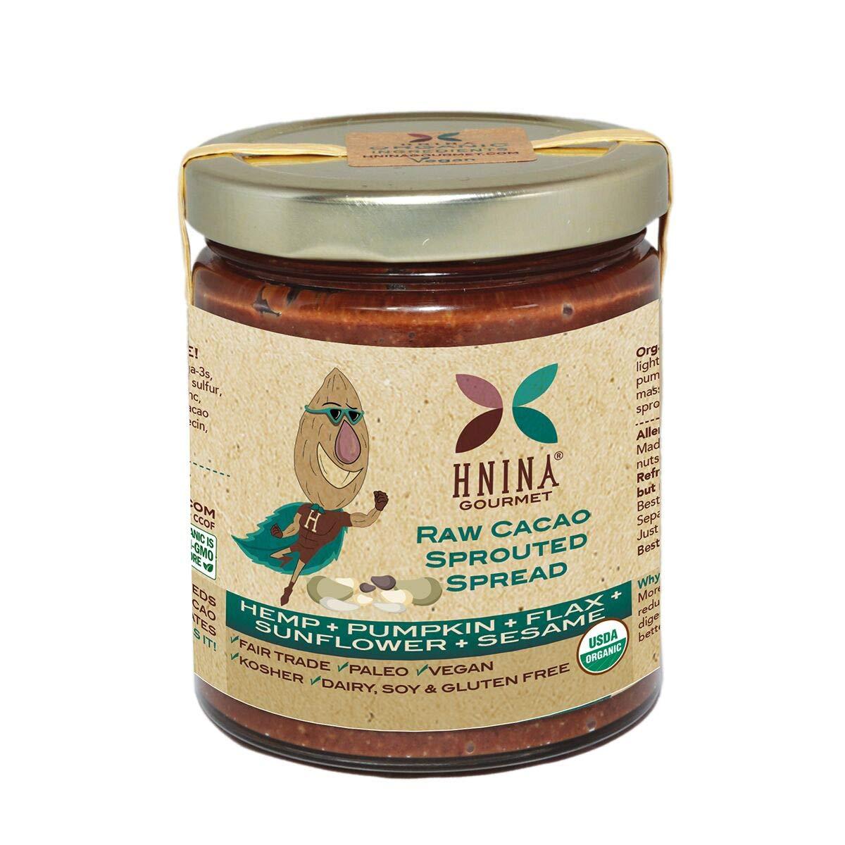 HNINA Gourmet Organic Sprouted Seeds & Raw Cacao Spread – Hemp + Pumpkin + Flax + Sunflower + Sesame