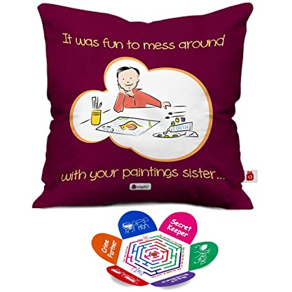 Indigifts Rakshabandhan Gifts For Sister Mess With Sis Paintings Quote Purple Cushion Cover 12x12 Inches