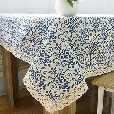 Svolite Floral Printed Vintage Linen Tablecloth Rectangle 60 x 84 inch