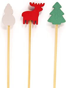 BambooMN - Christmas Holiday Bamboo Party Picks Skewers for Fruit Sandwiches Cocktails - 5.9