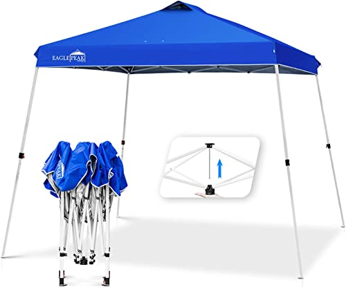 EAGLE PEAK 11 x 11 Slant Leg Pop Up Canopy Tent Instant Outdoor Canopy Easy Single Person Set-up Folding Shelter with 81 Square Feet of Shade Blue