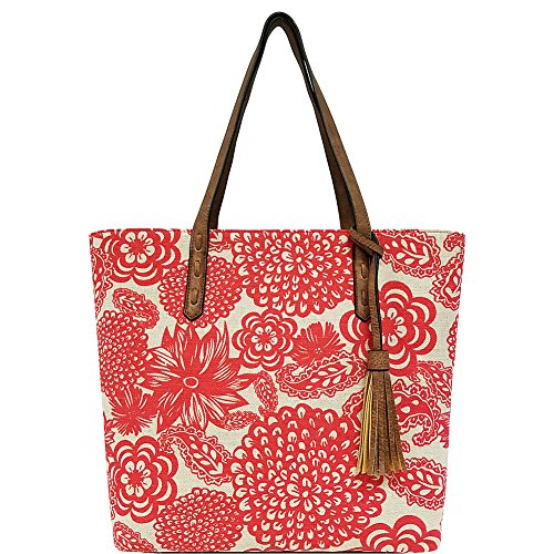 Bueno of California Bueno Printed Canvas Tassel Tote, Red Flower/Nut - Flower Tote Bag