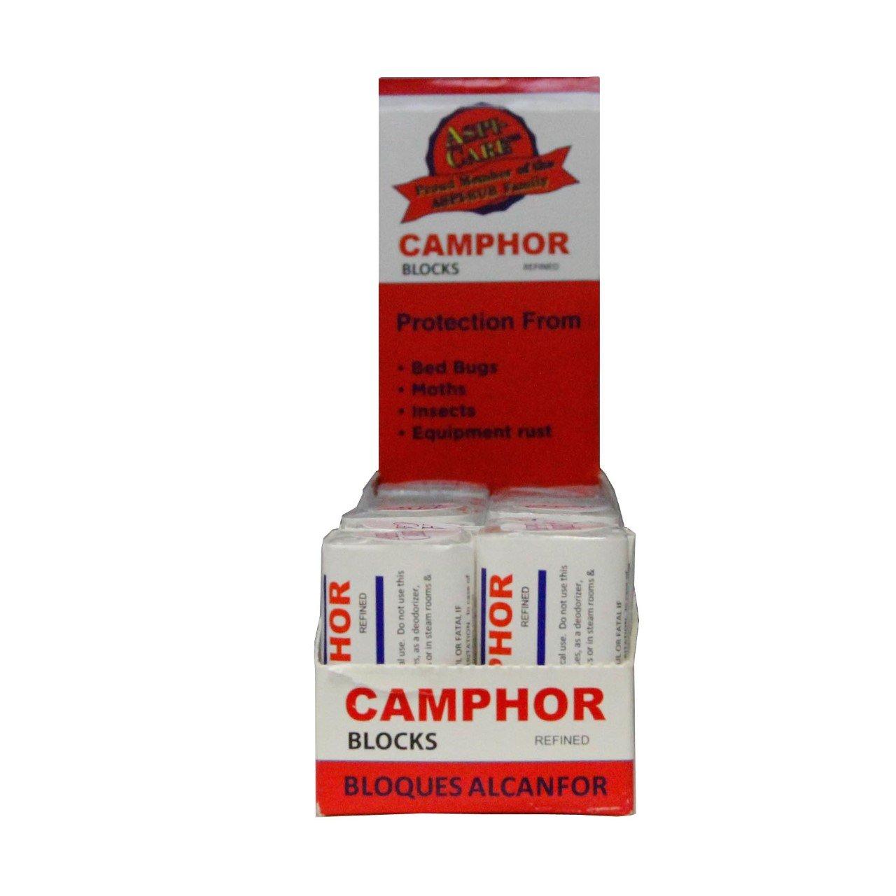 Box of Camphor 16 Blocks - 64 Tablets Premium Refined Camphor - No Residue - Bed Bug - Tool Tarnish Made in USA