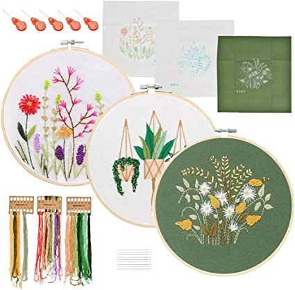Modern Bouquet Hand Embroidery Starter Kit for Beginners Adults With Hoop