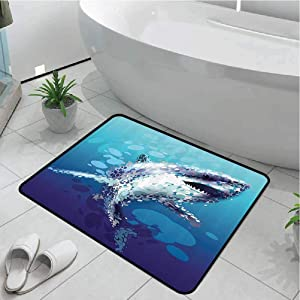 Doormat for Entrance Door Printed Anti-Slip Home Decor Sea Animal Decor,Digital Made Psychedelic Shark Figure with Droplets Scary Atlantic Beast,Blue Grey 17x29 Inch