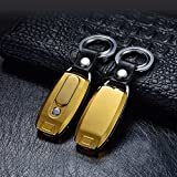 Zarsson Key Chain Flashlight, Windproof Flameless Electronic Cigarette Lighter with 2 Key Rings, Bright LED Light and Rechargeable USB for Gifts (Golden)