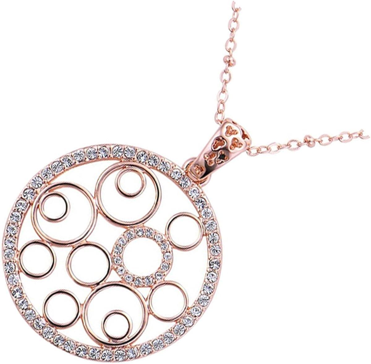 UPCO Jewellery Collar con Pendiente Circular, Embellecido con Múltiples Piezas de Cristal Austríaco, de 37 x 50 MM Bañado en Oro Rosado 18K