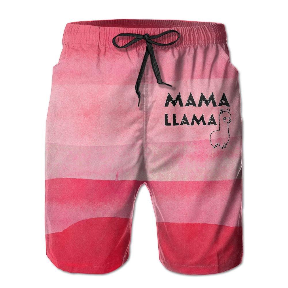 Mama Llama Letter Print Mens Basic Boardshorts L With Pocket by OIYP