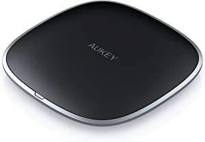 AUKEY USB C Wireless Charger, Ultra-compact Wireless Charging Pad Compatible iPhone 11/11Pro/Max/XS/XR/8/AirPods 2, Samsung S10/S9/S8, and Other Qi-Compatible Devices, Graphite Wireless Charger Series