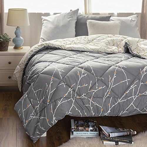 Full/Queen Printed Reversible Comforter Quilted Down Alternative Comforter Diamond Stitching Design Grey/Iovry 88