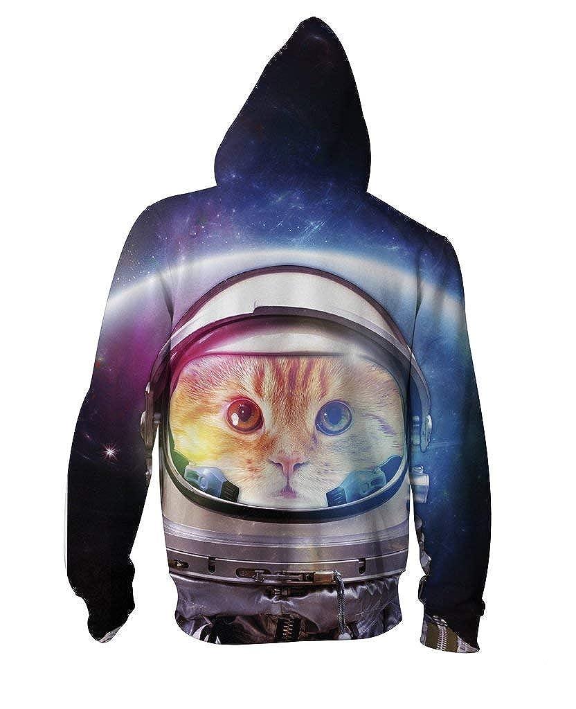 RageOn Lets Rage Space Cat Premium All Over Print Zip-Up Hoodie