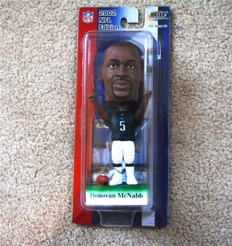 Philadelphia Eagles star Donovan Mcnabb #5 (green jersey) official NFL Upper Deck Playmakers Bobble card set Bobblehead (2002 Super Bowl Champions)