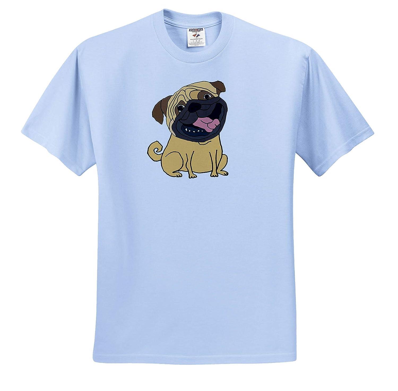 ts/_309099 Funny Cute Pug Puppy Dog Grinning Cartoon 3dRose All Smiles Art Pets Adult T-Shirt XL